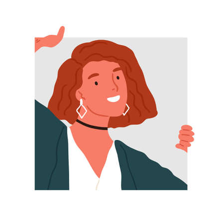 Funny woman in trendy accessories peeping into squared frame vector flat illustration. Happy female peeking, watching or looking isolated. Adorable curious person posing with happy facial expression Çizim