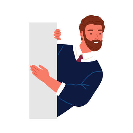 Bearded business male peeping from behind wall vector flat illustration. Funny curious man searching something isolated on white. Smiling guy office worker or clerk watching or seeking