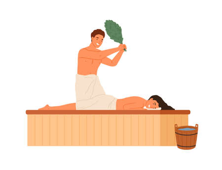 Male steaming female holding bath broom vector flat illustration. Woman wrapped in towel lying on wooden bench enjoying spa therapy at sauna or banya isolated on white. Couple at steam room