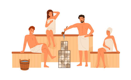 Group of people relaxing at public sauna or bathhouse vector flat illustration. Men and women wrapped in towels sitting at wooden steam room isolated on white. Male pouring water on hot stones