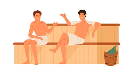 Two male friends talking and relaxing at sauna or banya vector flat illustration. Men wrapped in towels sitting on wooden bench in steam room isolated on white. People resting at vapor bath together