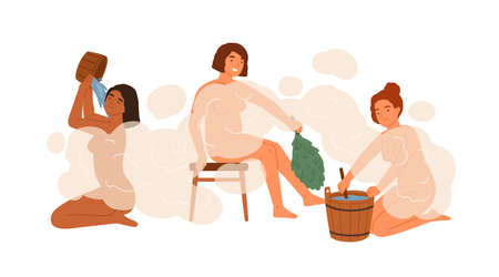 Group of woman in public bathhouse or banya full of hot steam vector flat illustration. Happy female washing their bodies and holding brooms and buckets isolated. People during bathing Ilustração