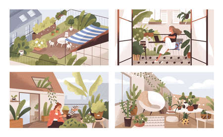 Set of gardens at terraces, balconies and roofs with plants and furniture. Modern cozy eco-style home interiors with greenery, tables and chairs. Colorful flat textured vector illustration