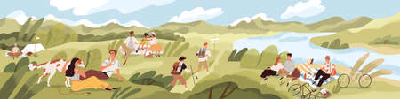 Landscape with people spending summer time outdoor. Men and women with children and pets relaxing in nature, having picnics and hiking on sunny day. Colored textured flat vector illustration