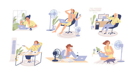 People working in heat, using air conditioner and fan at home and in the office. Overheating and exhaustion. Workplace conditioning. Flat vector cartoon illustration isolated on white background