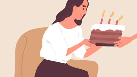 Happy young woman receiving sweet chocolate cake decorated with candles. Birthday celebration and congratulations concept. Flat vector illustration Ilustração