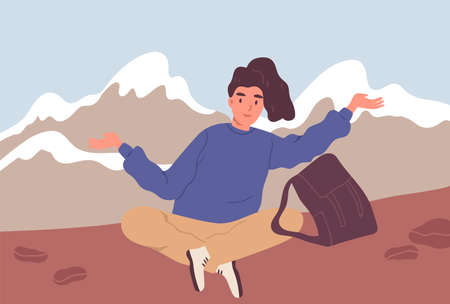 Happy woman or hiker with backpack sitting on the background of the mountain landscape. Traveling and hiking alone. Young female tourist or backpacker enjoying resting. Flat vector illustraton