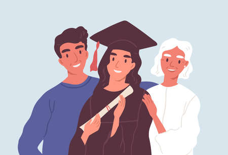 Happy graduated female student in graduation cap and robe standing together with mom and dad. Parents proud of their daughters academic degree and achievements. Flat vector illustration Ilustração