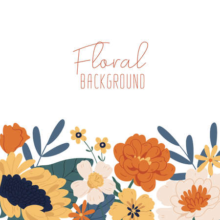 Square backdrop with border of blooming autumn flowers and leaves. Fall floral plants isolated on white background. Colorful flat vector illustration with place for text Ilustração