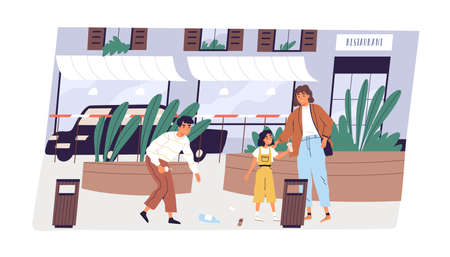 Child collecting garbage in street. Young modern mother with children picking up rubbish to throw it into waste bin. Boy and girl show good manners and care about clean city. Flat vector illustration