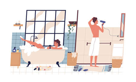 Young couple during everyday hygiene rituals in bathroom. Woman surfing internet in smartphone and lying in foamy bath tub. Man drying hair with hairdryer. Flat vector illustration isolated on white