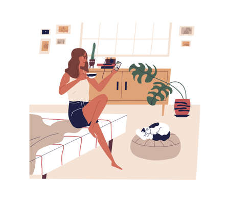 Young woman taking photo of cute sleeping cat. Female character using smartphone in cozy bedroom. Scene of everyday life, morning routine, rest at home with pet. Flat vector cartoon illustration