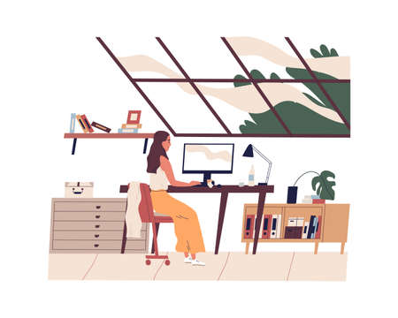 Young woman sitting at table and working or studying online at computer in modern comfortable home office during quarantine. Everyday working routine of freelancer. Flat vector illustration isolated