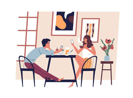 Young modern couple with smartphones in the kitchen while eating and drinking coffee. Mobile phone addiction concept. Family daily routine, breakfast and surfing internet. Flat vector illustration Ilustração