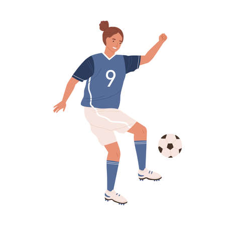 Female football player kicking ball by foot. Young woman playing soccer in blue sports clothes, boots and stockings. Colored flat vector illustration isolated on white background