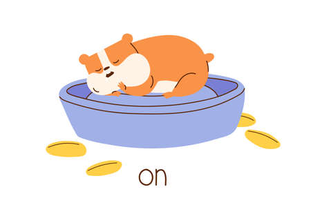 Cute hamster lying on bowl demonstrating meaning of English preposition of place. Funny sleeping animal and inscription isolated on white background. Flat vector illustration for language learning Vektoros illusztráció