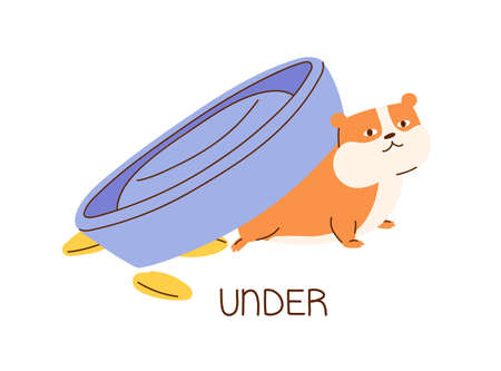 Cute fat hamster under its bowl demonstrating English preposition of place. Funny animal and inscription isolated on white background. Flat vector illustration for grammar and vocabulary learning