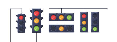 Set of traffic lights with red, yellow and green signals. Stoplights with prohibitory, allowing and waiting signs. Equipment for road movement control. Flat vector illustration isolated on white Ilustrace