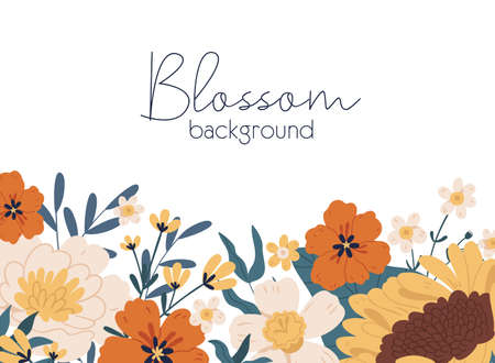 Horizontal botanical backdrop with border of delicate blossomed fall flowers like sunflower and peony. Floral flat vector illustration isolated on white background Vektorgrafik