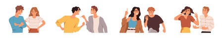 Set of angry people during conflicts and quarrels. Couples and friends brawling and shouting at each other. Collection of aggressive men and women. Colored flat vector illustration isolated on white