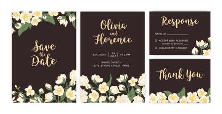 Collection of wedding inviting cards with floral decoration on dark background. Templates of vertical and horizontal bridal invitations with white jasmine flowers. Colored flat vector illustration