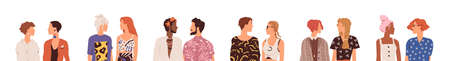 Set of and parners. Collection of faceless couples. Young modern people talking and looking at each other. Colorful flat vector illustration isolated on white background