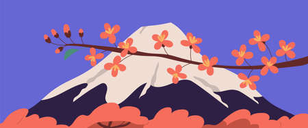 Scenic view of holy Fuji mountain and sakura branch with pink blossomed flowers during Hanami holiday. Japanese Fujiyama mount and blooming cherry trees. Colorful flat vector illustration