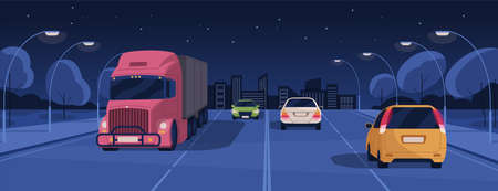 Night driving in lit city street with buildings and lights. Panoramic view of nighttime road traffic with cars and trucks. Horizontal colored flat cartoon vector illustration 일러스트