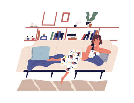 Young woman spending time with smartphone surfing internet and lying on sofa at home. Female character chatting or communicating by phone on couch. Flat vector illustration isolated on white