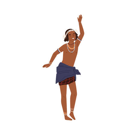 Cute african boy dancing tribal ritual dance isolated on white background. Happy kid wearing national ethnic clothes with traditional jewelry. Member of indigenous tribe. Flat vector illustration Çizim