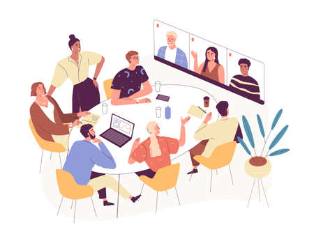 Online conference with foreign business partners. People in office and remote workers on virtual meeting by video call. Colored flat vector illustration isolated on white background