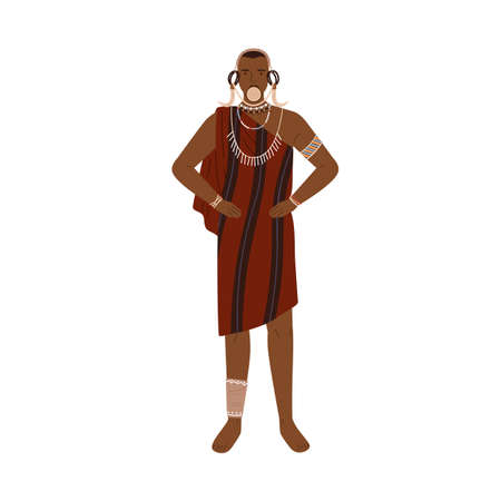 African man of aboriginal tribe wearing traditional clothes and ethnic tribal accessories like necklaces, bracelets and lip plate. Colorful flat vector illustration isolated on white background