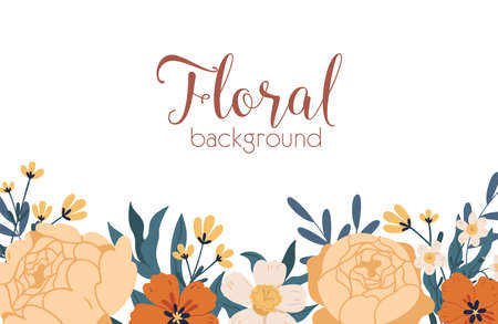 Floral backdrop with elegant blooming autumn flowers and place for text. Peony roses and narcissus border. Colorful flat vector illustration isolated on white background