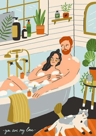 Couple in love taking bath together. Happy young man and woman in romantic relationships relaxing in bathroom. Lovers in bathtub. Hand-drawn vertical postcard. Colorful flat vector illustration