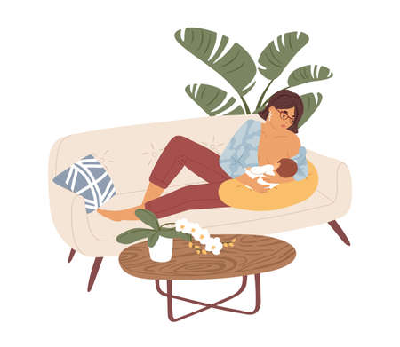 Mom breastfeeding her newborn baby. Happy mother lying with child, who suckling breast. Young woman feeding infant with breastmilk. Colored flat vector illustration isolated on white background