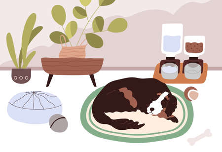 Sleepy dog staying home alone with smart automatic pet feeders or food dispensers with dry feed and water. Calm animal sleeping on floor in modern room with good conditions. Flat vector illustration Иллюстрация