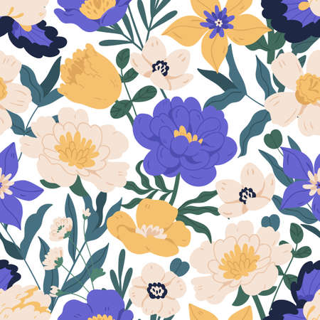 Seamless floral pattern with peonies, anemones, daffodils and clematis. Endless design with flowers for printing and decoration. Repeatable botanical background. Colorful flat vector illustration.