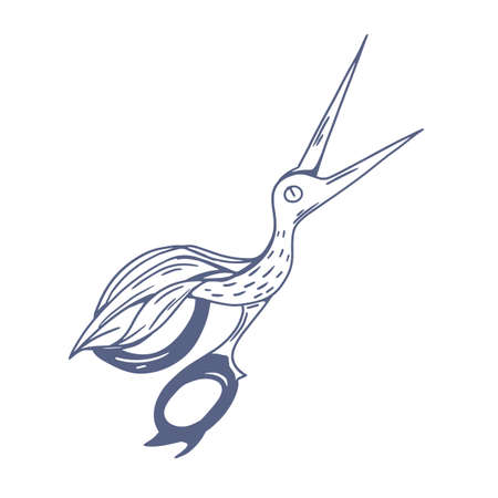 Pair of antique scissors shaped in fancy bird design. Sewing or embroidery sheers with blades similar to crane or stork. Hand-drawn monochrome vector illustration isolated on white background