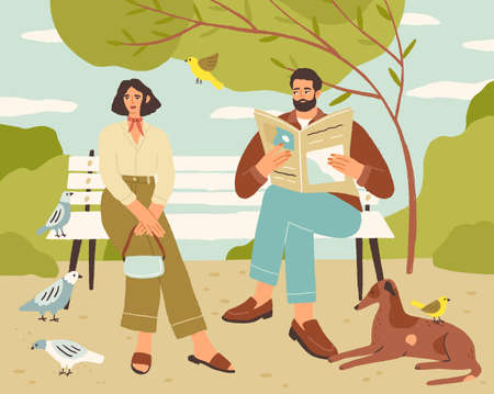 Couple resting on bench in quiet park. Man reading newspaper and looking at relaxed woman sitting in silence and enjoying leisure time. Cute colored flat vector illustration Vectores
