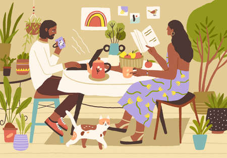 Young couple enjoying spending leisure time at home. Man surfing at the internet or working with laptop, woman reading book. Leisurely breakfast and slow life concept. Colored flat vector illustration