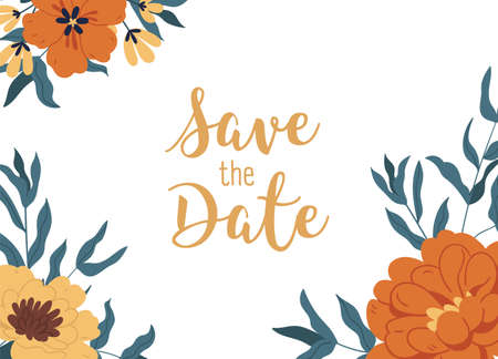 Floral backdrop with elegant blossomed fall flowers with lush petals. Blooming peonies isolated on white background. Wedding invitation cover with Save the Date inscription