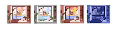 Set of window views with morning, afternoon, evening and night sceneries. City in different time of day from inside. Colored flat vector graphic illustration isolated on white background