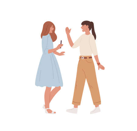 Two young women meeting and greeting each other by waving hand. Chatting girlfriends isolated on white background. Colored flat vector illustration