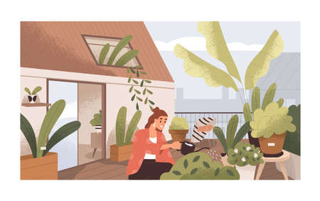 Woman watering plants at home balcony garden with greenery. Modern trendy eco-style interior of terrace with houseplants in pots or planters. Colored flat textured vector illustration