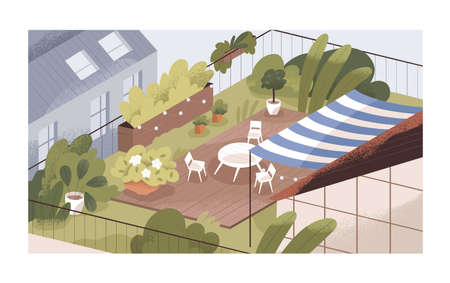 Terrace or balcony garden with plants and furniture. Modern cozy eco-style interior with greenery, flowers, sunshade, table and chairs at top of roof. Colorful flat textured vector illustration