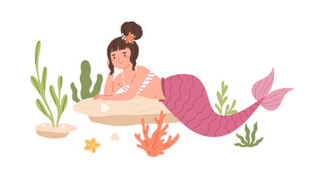 Pretty mermaid with hair bun and pink fish tail lying and resting at sea bed. Beautiful underwater fairy princess enjoying rest. Colored flat cartoon vector illustration isolated on white background