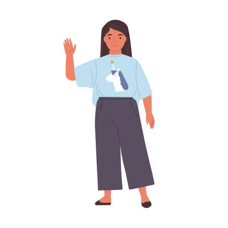 Smiling girl with friendly face waving hand and saying hi or bye. Happy kid gesturing hello or goodbye. Child standing in t-shirt and pants. Flat vector illustration isolated on white background Vektorové ilustrace