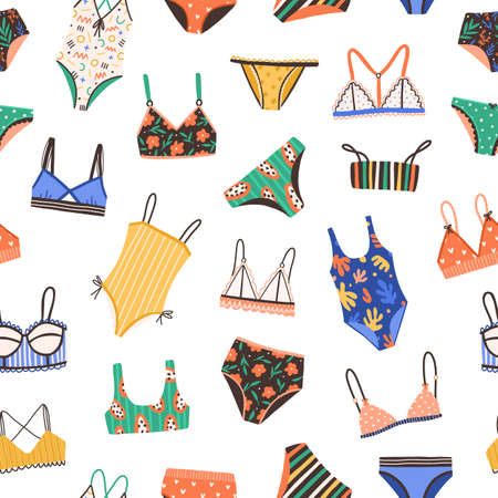 Seamless pattern with bikini and swimsuit. Colorful summer backdrop with female bras and panties isolated on white background. Repeatable texture with swimwear and lingerie. Flat vector illustration