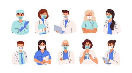 Set of doctors, nurses and paramedics in face masks. Portraits of male and female medic workers in uniform with laptop, stethoscopes and gloves. Flat vector illustration isolated on white background