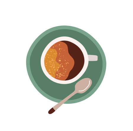 Top view of cup with saucer and tea spoon. Coffee break icon. Colored flat vector illustration of americano or espresso with foam isolated on white background